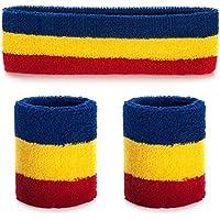 ONUPGO Sweatband Headband Wristbands Set - Men Women's Sports Headband Cotton Striped Sweatband Set - Keep Sweat & Hair Out of Your Face