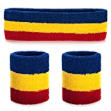 ONUPGO Sweatband Set (3 Pieces) Sports Headband Wrist Striped Sweatbands Terry Cloth Wristband Athletic Exercise Basketball Wrist Sweatband and Headbands Moisture Wicking Sweat Absorbing Head Band (A Blue/Yellow/Red)