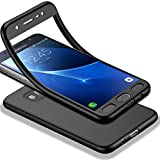 HICASER Galaxy J7 2016 Full body Coque, Matte Finish Anti-dérapante Étui Ultra Léger TPU Case 360 Degres + Protection en Verre Trempé pour Samsung Galaxy J7 (2016) J710 Noir