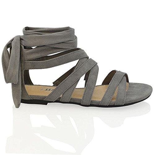 Riemchen Wildlederimitat Sandalen Damen Sommer Gladiator Grau Essex Schuhe Zum Flache Glam Schnüren wXqF146