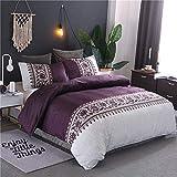 Bettwäsche Set Bettbezug Und Kissenbezug Moderne Drucken Design Rot Blau Braun Grau Lila Reißverschluss Schließung Microfaser Bettwäsche-Set (Lila, 200 x 200 cm)