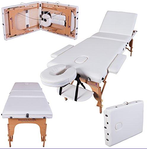 Preisvergleich Produktbild Massage Imperial® - tragbare Profi-Massageliege Kensington - leicht 14 Kg - 3 Zonen - Elfenbeinweiß