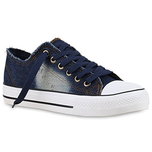 Sneakers Low Damen Denim Schuhe Used Look Fransen Jeans Optik Dunkelblau