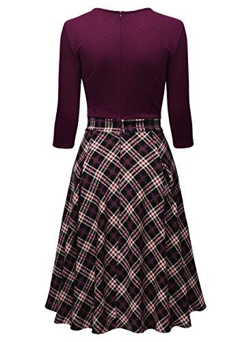 MIUSOL Vintage Femmes Robe Manches 3/4 Swing Vêtements de Soirée Violet