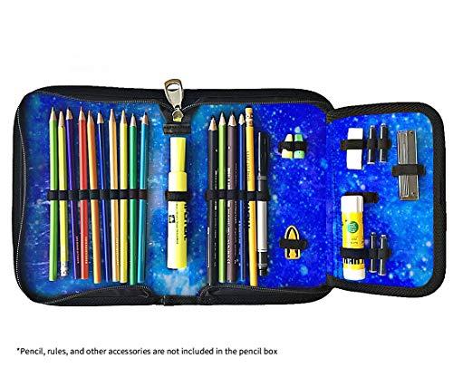 F FENRICI Astuccio - Custodia Morbida - Scatola Con Zip E Scomparti E Supporti Per Matite Colorate E Temperamatite (Galaxy Blu)