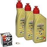 Castrol Power1 (10W-40) Set de cambio de aceite (aceite para motor, filtro de aceite K&N y anillo obturador), para Yamaha XJ6 Diversion año de fabricación 09-12