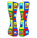 Photo de AHENANY Outdoor Sports Men Women High Socks Stocking train bus car fire truck children seamless pattern Tile length 19.7