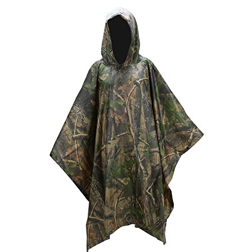 3 in 1 Outdoor Raincoat, Multifuntion Camouflage Waterproof Raincoat Poncho Tent Mat Canopy Backpack Rain Cover for Camping, Hunting, Fishing...
