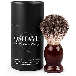 qshave Brocha de afeitar hecho a mano de 100% pelo de blaireaus auténtico y puros con mango de madera. La elección para el afeitado mojado con navaja de seguridad/seguridad coup-choux.