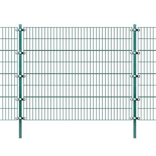 Zora Walter Panneau de clôture avec poteaux verts en fer 6 x 1,6 m Clôture Jardin Panneaux Clôture Clôture Aiuole accessoires clôture Kit Clôture extérieur