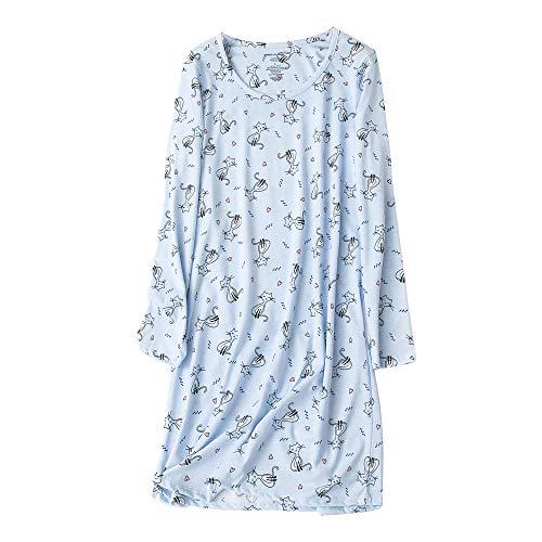 EWONICE Damen Baumwolle Nachtwäsche Langarm Nachthemd Print Tee Schlafkleid Casual Nights Soft Nightshirt - - X-Groß -
