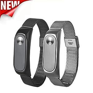 Malloom Correa de reloj de pulsera de acero inoxidable ligero brazalete reemplazo para Xiaomi Miband 2 marca Malloom