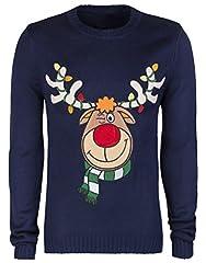 Idea Regalo - Maglione natalizio unisex, maglione Ugly Funky Funny - Maglione caldo invernale, ottimo come regalo (taglie XS, S, M, L, XL) multicolore REINDEER RUDOLPH (navy blue)