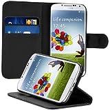 kwmobile Wallet Case H�lle f�r Samsung Galaxy S4 - Cover Flip Tasche mit Kartenfach und St�nderfunktion in Schwarz