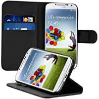 kwmobile Funda para Samsung Galaxy S4 - Wallet Case plegable de cuero sintético - Cover con tapa tarjetero y soporte en negro