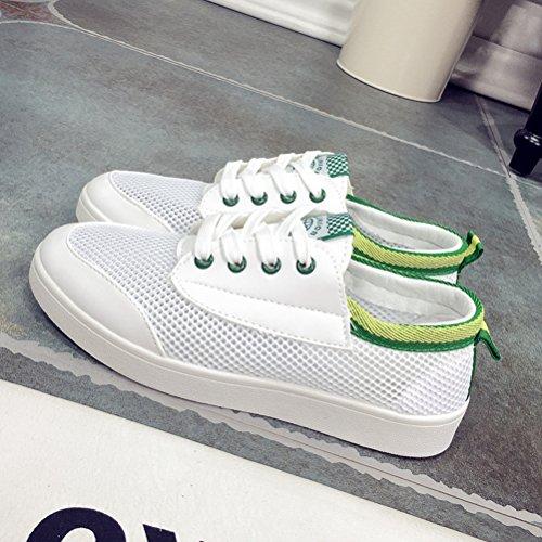 Damen Sommer Leichtgewicht Plateau Mesh Atmungsaktive Moderne Schnürsenkel Flach im Freien Sneakers Turnschuhe Grün