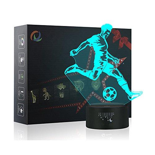 (3D Fußball Nachtlicht,7 Farben Berührungssteuerung Zuhause Dekor Tischleuchte,Optische Illusion LED Nachtlampe USB Tischlampe, für Kinder Weihnachten Geburtstag beste Geschenk Spielzeug)