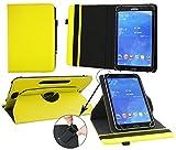 Emartbuy® Archos 101c Copper 10.1 Zoll Tablet Universal ( 9 - 10 Zoll ) GepolsterteDesign Gelb 360GradrotierendeStandFolioGeldbörseTascheHülle + Schwarz Eingabestift
