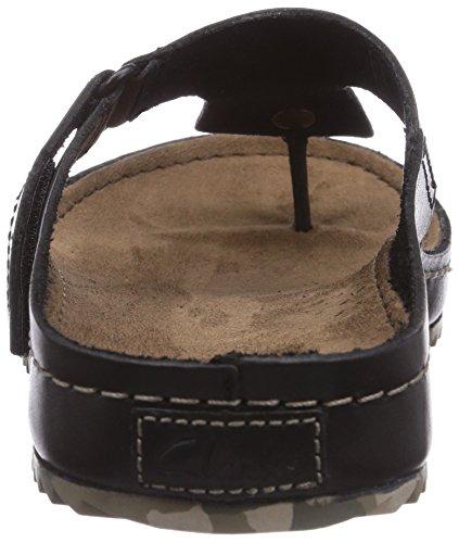 Clarks Netrix Post Herren Pantoletten Schwarz (Black Leather)