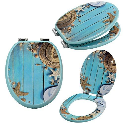 [neu.haus] Toilettensitz mit Absenkautomatik [Strand Motiv] Soft-Close WC-Sitz (Strand Häuser)
