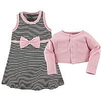 فستان وكارديجان من القطن للبنات من هدسون بيبي Pink and Black Stripe 2 Piece Set 3-6 Months