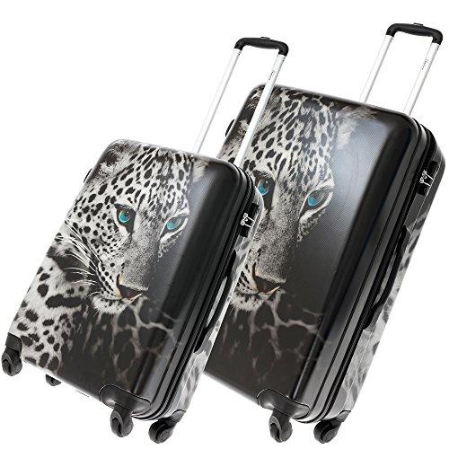 FABRIZIO Hartschalenkoffer Koffer ABS Kunststoff mit Polycarbonat Film + Koffergurt + Flüßigkeitenbeutel (Leopard SET 60 + 70 cm)