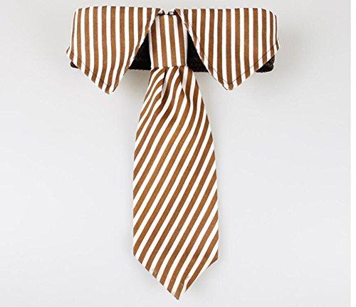 ANIAC Formale Stripe Halsband Hals Fliege Kostüm für Big Pet Dog, S, Coffee Stripes