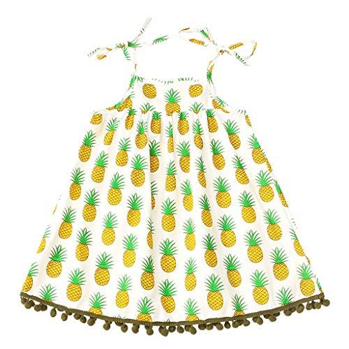 Baby Mädchen Kleidung Set 2 Stück Pwtchenty Prinzessin Ärmellose Ananas Print Quasten Kleid + Stirnband Outfits Set Fruit Kleid + Haargurt Set Mädchenanzug Blumenkleid (Regal Rote Prinzessin Kostüm)