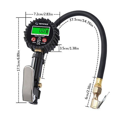 VETOMILE-Manometro-digitale-per-pneumatici-200-PSI-con-estensore-valvola-manichetta-in-gomma-mandrino-pneumatico-per-camion-auto-moto-e-biciclette-nero