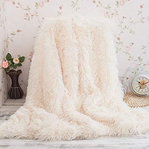 Coperta di pelliccia artificiale in microfibra coperta di cotone per il letto a scomparsa leggermente lanuginoso (bianco, 130*160cm)