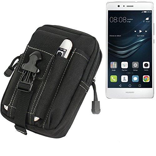 K-S-Trade für Gürtel Tasche Huawei P9 Lite Dual SIM Gürteltasche Schutzhülle Handy Hülle Smartphone Outdoor Handyhülle schwarz Zusatzfächer