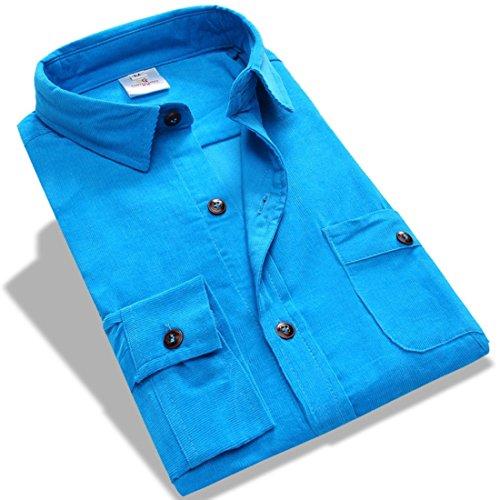 Men's Camisa Masculina Long Sleeve Dress Shirts Blue3