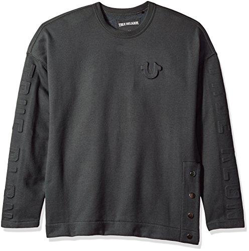True Religion Oversized Fleece Embossed Charcoal Sweatshirt - Large