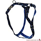 Feltmann Premium Hundegeschirr mit Alu-Max®, Soft- Nylonband, schwarz mit blauen Pfötchen, 55-75cm, 20mm