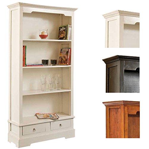 CLP Bücherschrank Elmer aus Mahagoniholz | Handgefertigtes Holzregal mit Vier Fächern und Zwei Schubladen | Massives Holzregal im Landhausstil erhältlich Weiß -