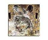 Kunstdruck - Der Kuss -Abstrakt476_60x60cm Leinwandbild XXL angelehnt an Gustav Klimt fertig auf Keilrahmen quadratisches Wandbild