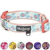 Blueberry Pet City Chic Paisley-Blumen-Muster Pastell-Blau Verstellbares Neopren Gepolstertes Hundehalsband, L, Hals 45cm-66cm