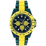 Identity London Unisex Yellow & Green Mock Sub-Dial Plastic Strap Watch 932/3489