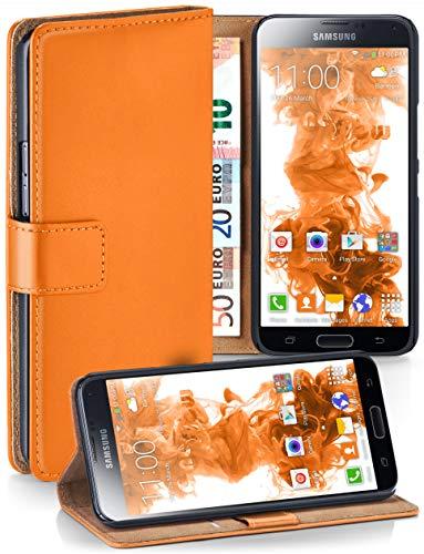 moex® Booklet mit Flip Funktion [360 Grad Voll-Schutz] für Samsung Galaxy S5 | Geldfach und Kartenfach + Stand-Funktion und Magnet-Verschluss, Orange