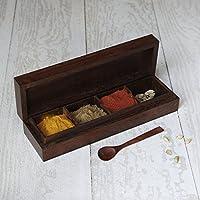 Store Indya, Legno Masala Spice Box (10 pollici) con 4 vani portaoggetti e cucchiaio per Accessori decorativi Gifting