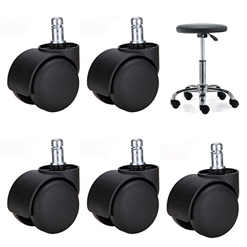 Brand New 5 x Black Office Chair Wheel / Caster Stem Diameter 11 mm x 22 mm