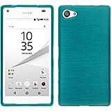PhoneNatic en silicone pour Sony Xperia Z5Compact Bleu Brossé Case Xperia Z5Compact étui + 2films de protection