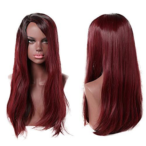 Littlefairy Perücke Schwarz Lady Fashion natürlichen lebensechtes Pick und Farbstoff Gradient Mittellange Glattes Haar Perücke -
