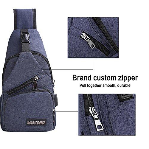 3e45d4c7fc4f Sling Shoulder Crossbody Chest Bag With USB Charging Port, Pawaca ...