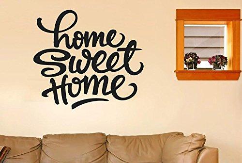 Home Sweet Home Felt Tip Pen Stickers Muraux Vinyle Décor Pochoirs Murals - Grand (Hauteur 57cm x Longueur 63cm) Noir