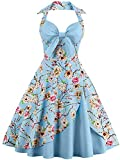 50er Damen Retro Swing Rockabilly Halfter Ballkleid V-Ausschnitt Bowknot Ärmellos Floral Plissee Tee Kleid(L)