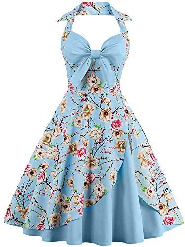 50er Damen Retro Swing Rockabilly Halfter Ballkleid V-Ausschnitt Bowknot Ärmellos Floral Plissee Tee Kleid(XL)