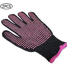 2 guantes de silicona antideslizantes resistentes al calor para rizar, peluquería, guantes protectores de