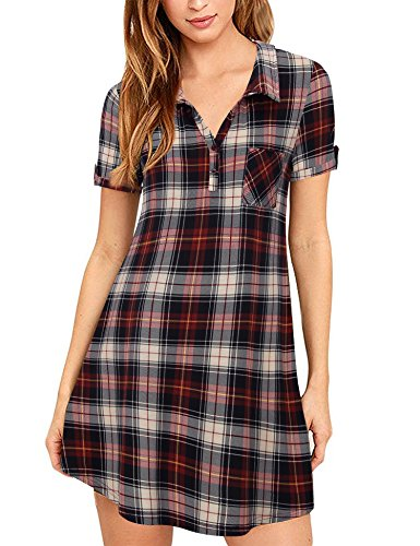Youtalia Women's Casual Loose Short Sleeve Plaid Tunic Blouse Checkered Tshirt Dress