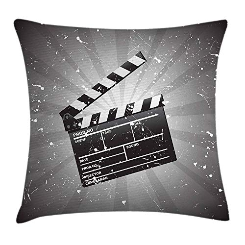er Throw Pillow Cushion Cover, Clapper Board on Retro Backdrop with Grunge Effect Director Cut Scene Grey Black White ()